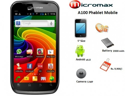Micromax launches A100 Phablet