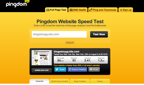 Checking Your Blogs Loading Time