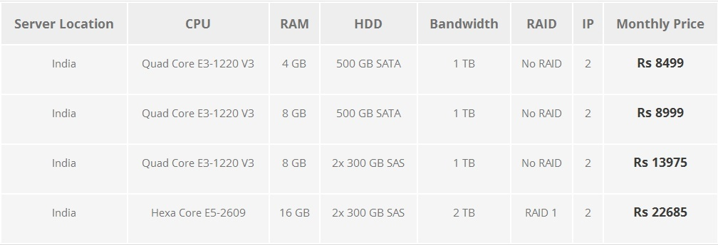 4. Dedicated Hosting India Server