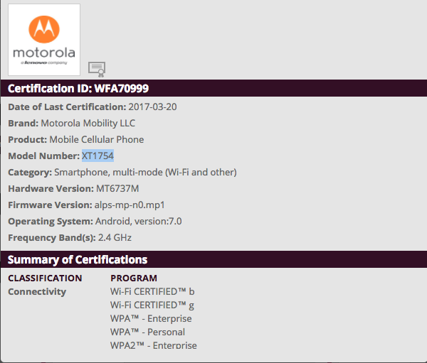 Two new Moto phones receives WiFi Certificate, could be Moto C