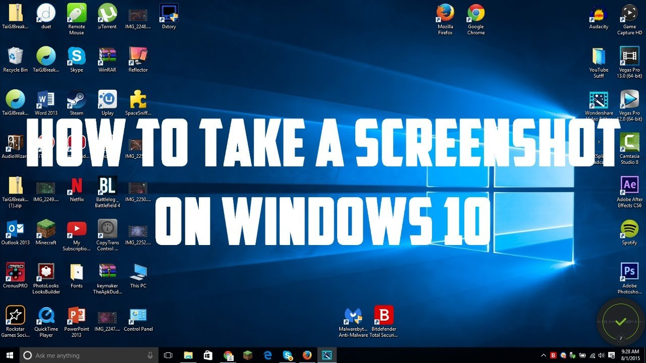 Screenshots using Windows 10