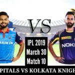 Delhi Capitals vs Kolkata Knight Riders, 10th Match
