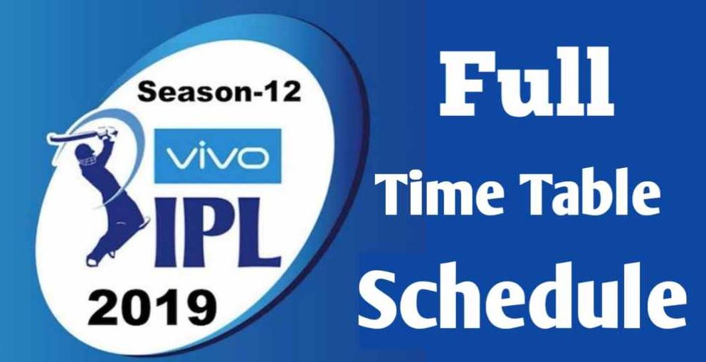 "IPL Schedule 2019: ""IPL 2019 Schedule Time Table"" – CricBuzz"