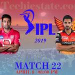 KXIP Vs SRH 22nd Match Prediction, Live Cricket Scores