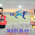 RCB Vs CSK 39th Match Prediction, Live Streaming Cricket Updates