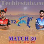SRH Vs DC 30th Match Prediction, Live Cricket Score Updates